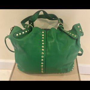 Handbags - Fashionable Handbag, Green Leather